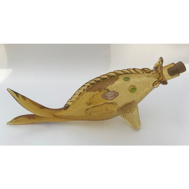 Italian Mid Century Blown Glass Fish Wine Bottle For Sale - Image 10 of 13