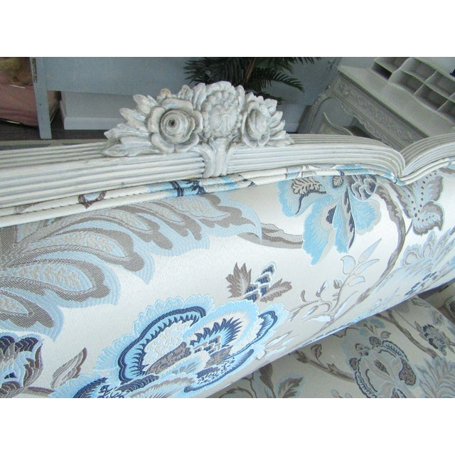 Fabric Floral Upholstered French Settee & Arm Accent Chair For Sale - Image 7 of 8