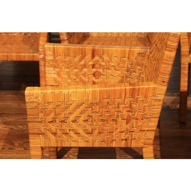 Terrific Restored Set of Six Cane Chairs in the Style of Jean-Michel Frank For Sale - Image 4 of 11