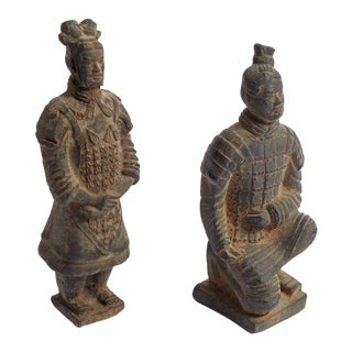 Vintage Chinese Clay Soldiers Terracotta Warrior Statues Figurines - a Pair