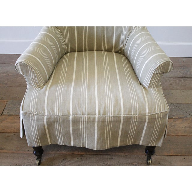Early 21st Century Napoleon Style Linen Stripe Slip Cover Chair and Ottoman For Sale - Image 5 of 12