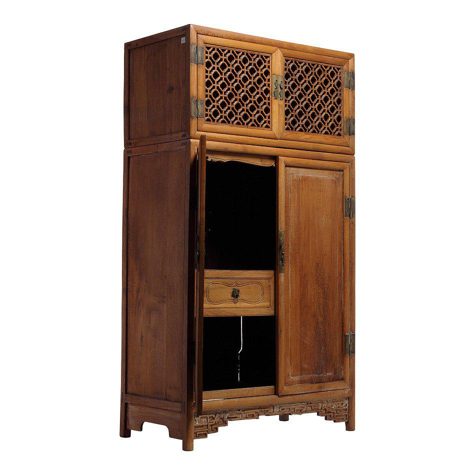 Antique Large Kitchen Cabinet Armoire With Fretwork Top From 19th Century,  China   Image 3