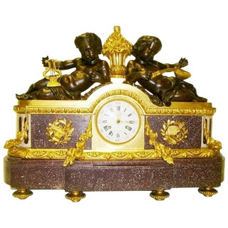 Bronze and Porphyry Clock by Julien Le Roy, 19th Century For Sale