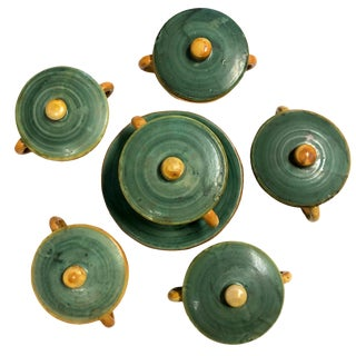 Vintage Italian Faience Green and Orange Lidded Bowls and Plates - Set of 6 For Sale