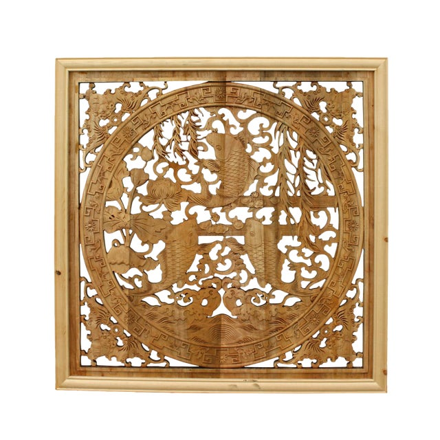 Chinese Square Flower Fishes Wooden Wall Plaque Panel For Sale