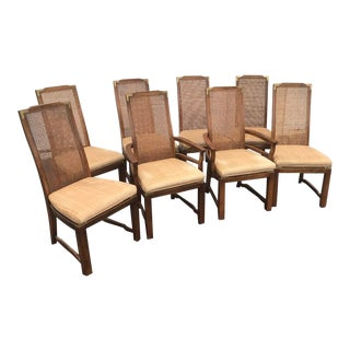 Vintage Cane Campaign Chairs-Set of 8 For Sale