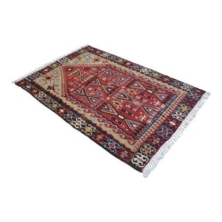 Hand Woven Turkish Kilim Rug Rare Prayer Rug - 4′5″ × 6′7″ For Sale