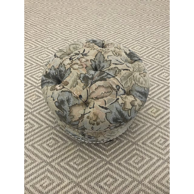 Traditional Vintage Fabric Upholstered Foot Stool/Ottoman For Sale - Image 3 of 13
