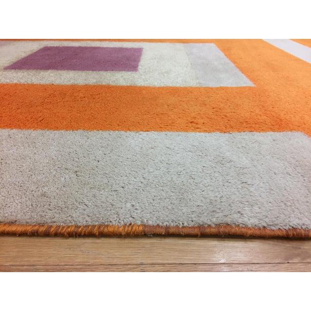 Vintage Belgian Geometric Pop Art Orange Elementa 80 Wool Rug - 6′6″ × 9′10″ - Image 6 of 8