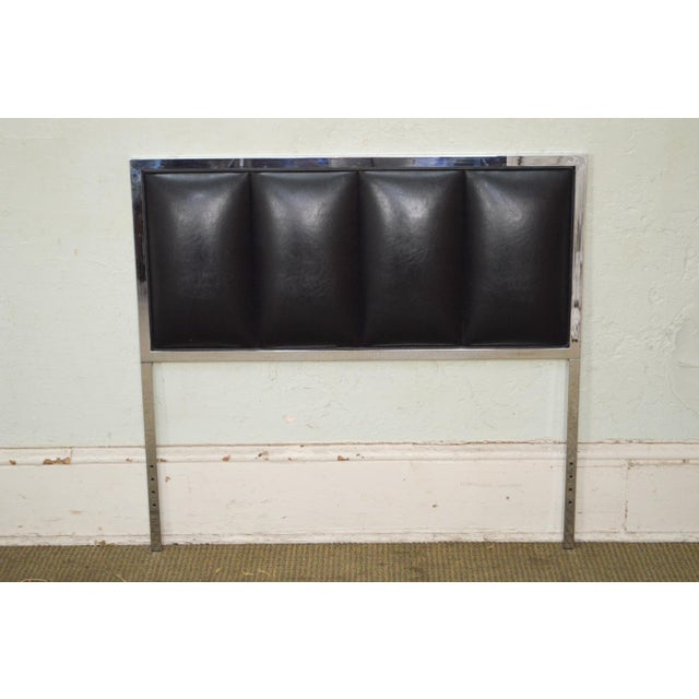 Milo Baughman Mid Century Modern Pair of Chrome & Black Faux Leather Twin Headboards - Image 2 of 11
