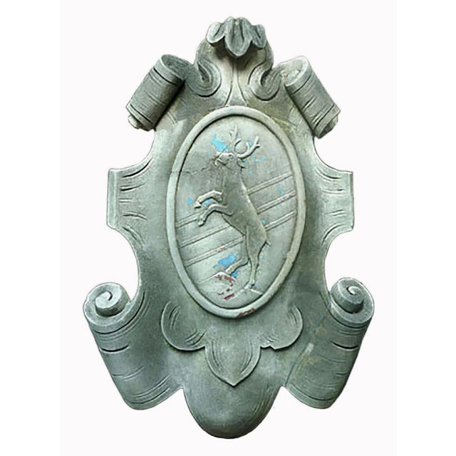 Early 20th Century Italian Baroque Style Cast Limestone Cartouche of a Rearing Stag For Sale - Image 4 of 4