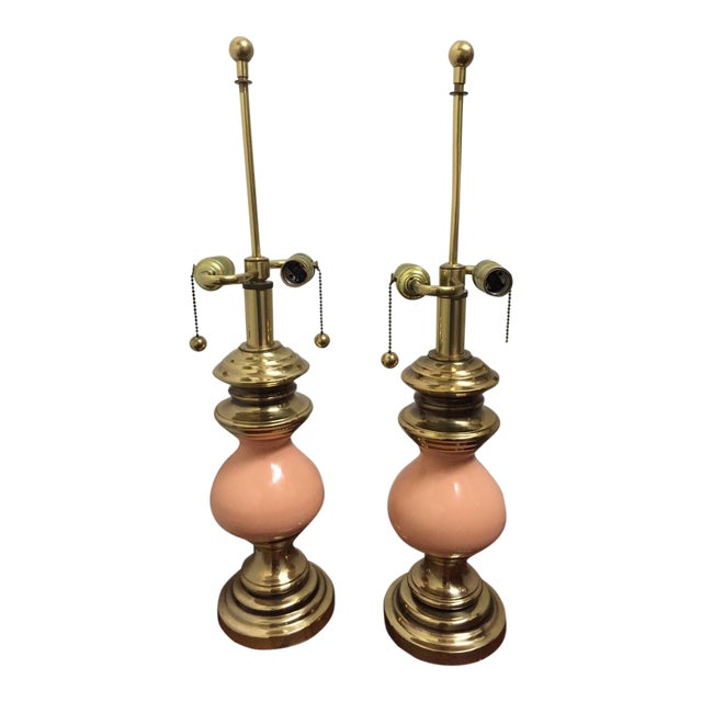 Vintage Stiffel Peach Ceramic and Brass Table Lamps With Earring Pull Switch - a Pair For Sale