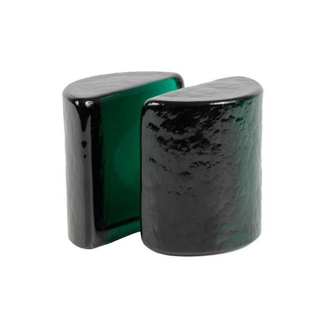 Mid 20th Century Blenko Emerald Green Solid Glass Bookends For Sale - Image 5 of 5