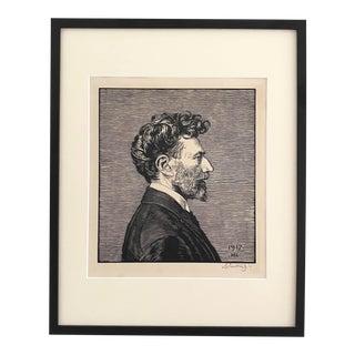 1917 Max Svabinsky Signed Self-Portrait Woodcut Print, Framed For Sale