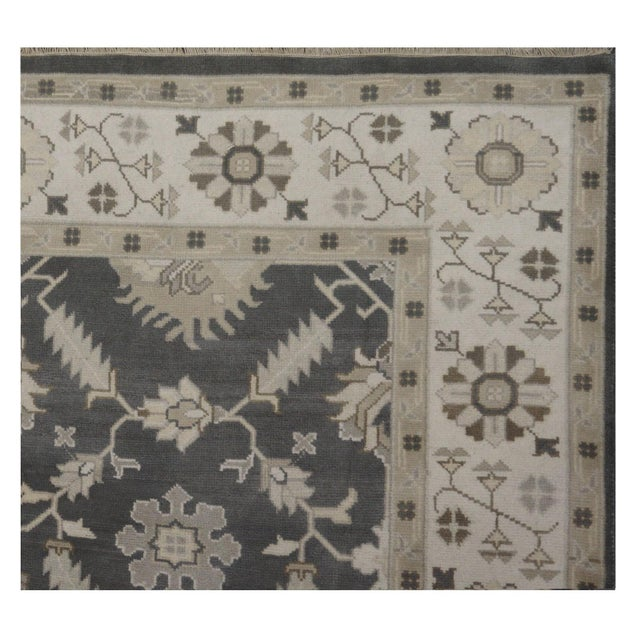 Contemporary Hand Knotted Indian Oushak Rug - 8′1″ × 9′10″ For Sale - Image 3 of 4