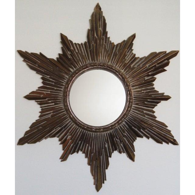 Resin Mid-Century Convex Sunburst Mirror For Sale - Image 7 of 7