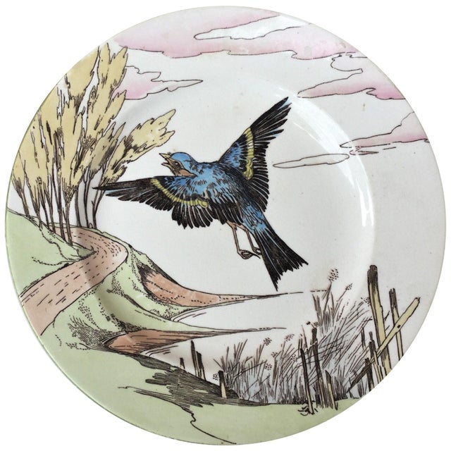 Minton Large English Bird Plate Mintons, circa 1900 For Sale - Image 4 of 6