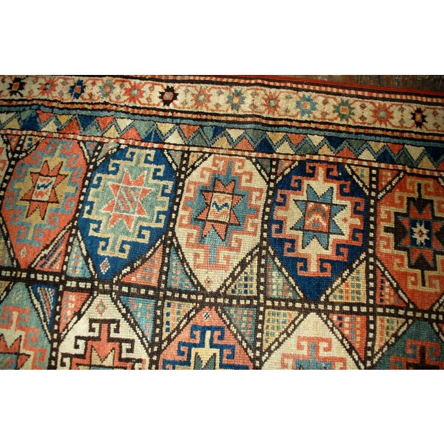 1880s Antique Hand Made Caucasian Kazak Mohan Rug- 3′10″ × 7′9″ For Sale - Image 4 of 10