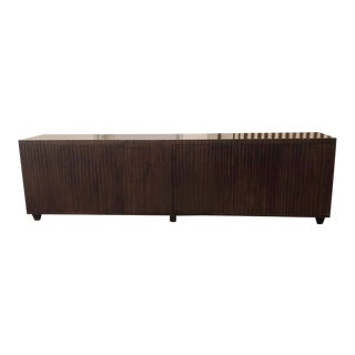 Ironies Custom Contemporary Ribbed Wood Buffet For Sale