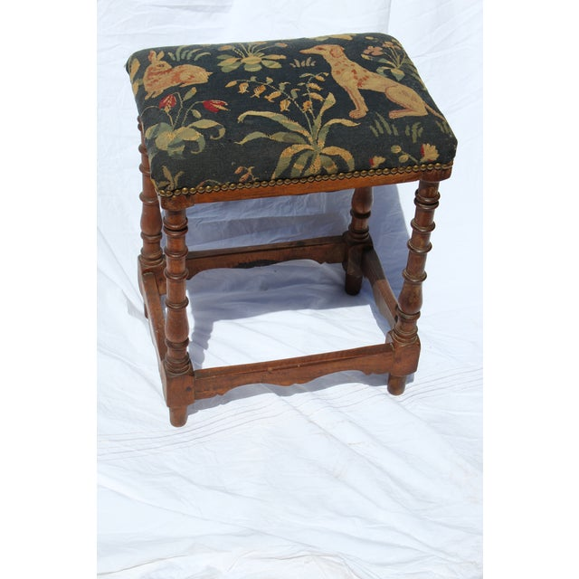 17 C. French needlepoint stool. This piece would bring charm to any room in your home.