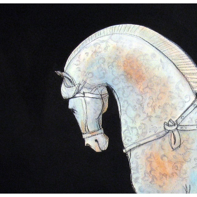 This work on heavy watercolor paper is an homage to the horse and the artisans of the Tang dynasty. Inspired by the...