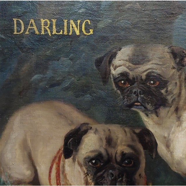 Charles Nogaro - Portrait of Two Pugs-19th Century French Oil Painting For Sale - Image 4 of 10