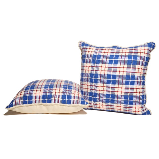 American Red, White & Blue Plaid Pillows- A Pair For Sale - Image 3 of 3