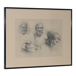 1920's Vintage Male Portrait Studies in Graphite by Mystery Artist For Sale