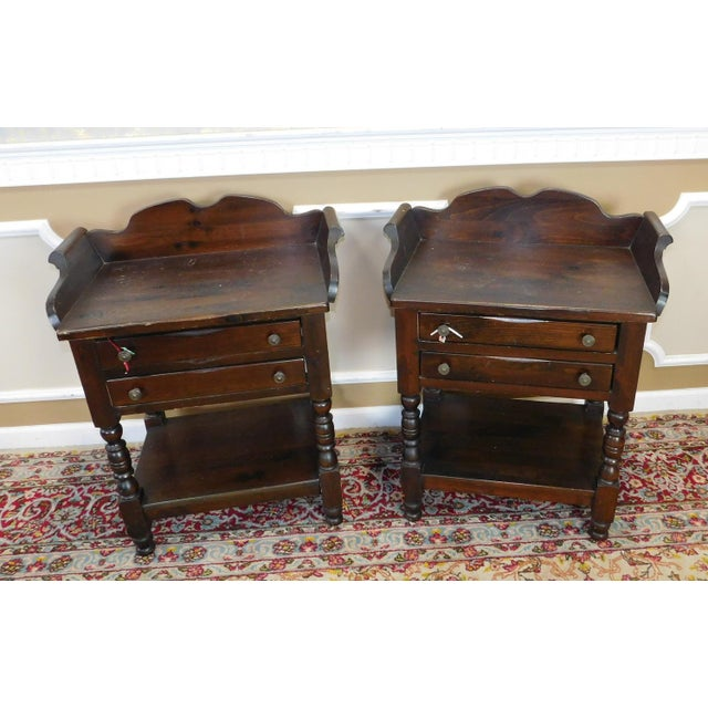 60s Colonial American Furniture Side Table: Pair Dark Bennington Pine Washstand Style Colonial Side