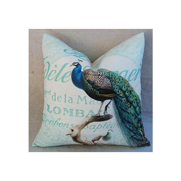 French Script Linen Pillow with Peacock - Image 3 of 7