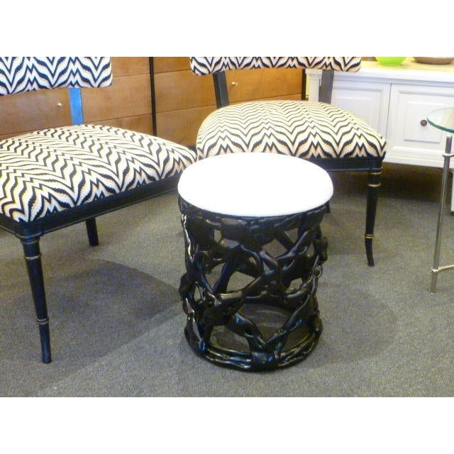 1970s 1970s Ribbon Stool Black Resin and White Vynil Seat For Sale - Image 5 of 8