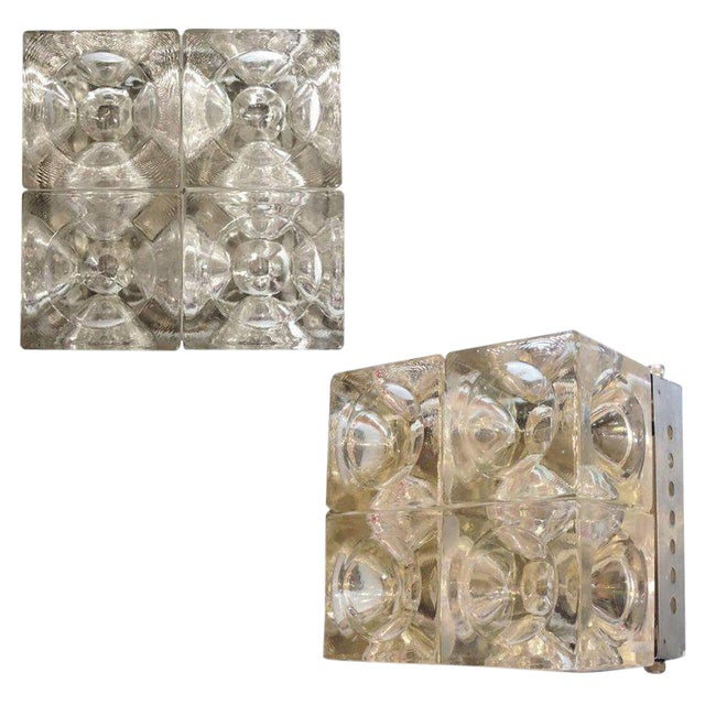 Italian Murano Glass Cube Sconces / Flush Mounts by Poliarte - a Pair For Sale