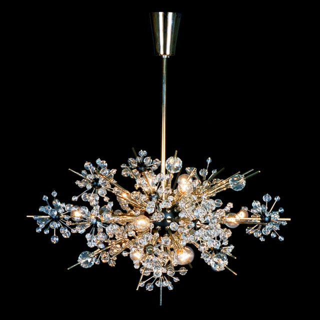 """""""Metropolitan"""" crystal chandelier designed by Hans Harald Rath for the Metropolitan Opera House in New York in 1963. This..."""