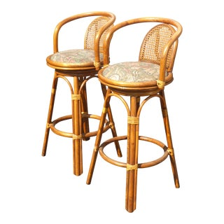 Pair Vintage Tiki Palm Beach Cane Back Bamboo Rattan Swivel Bar Stools For Sale
