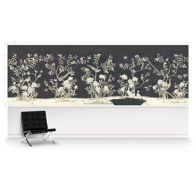 Chinoiserie Casa Cosima Henri Charcoal Wallpaper Mural - Sample For Sale - Image 3 of 5