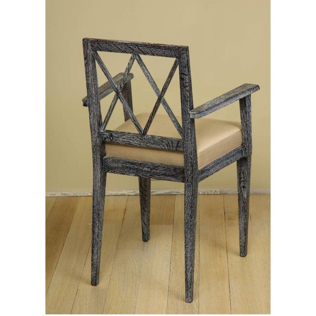 French Art Deco Cerused Oak Desk and Chair Set For Sale - Image 4 of 13