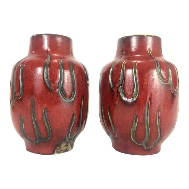 Oxblood Signed Studio Pottery Mantle Vases A Pair Chairish