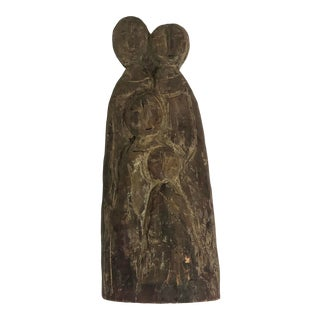 Signed Wooden Sculpture of Family. Hand Carved Original Piece For Sale