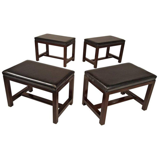 Two Pairs of Solid Mahogany Stools by Edward Wormley for Dunbar For Sale - Image 9 of 9