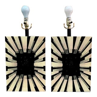 Artisan Black & Yellow Metal Table Lamps - a Pair For Sale