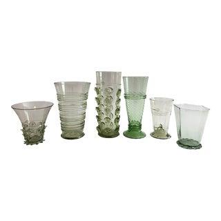 Six Hand Blown Czech Green Glasses by Juliska For Sale