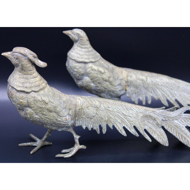 Large Italian Silver Plate Pheasant Figurines - a Pair For Sale - Image 4 of 13