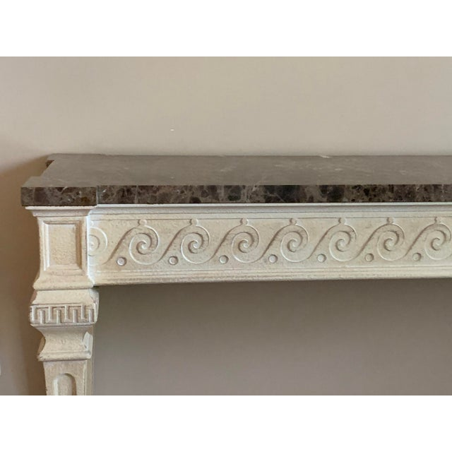 Vintage Louis XVI Style Henredon Ivory/Brown Marble Console For Sale In Houston - Image 6 of 13