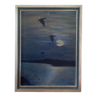 Mid 20th Century Painting of a Nocturnal Scene For Sale