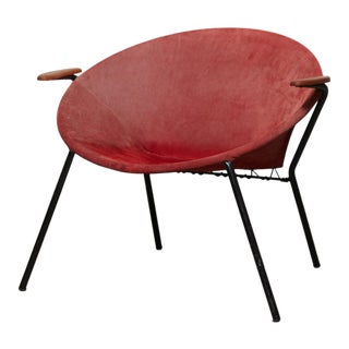 1960s Hans Olsen Mid-Century Suede Sling Hoop Teak & Leather Balloon Chair For Sale