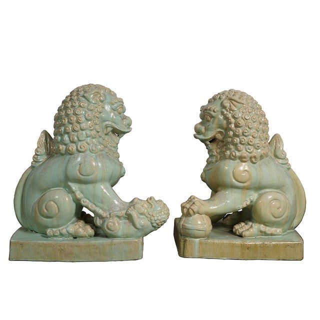 Antique Chinese Qing Era Porcelain Foo Dogs-A Pair For Sale - Image 11 of 13