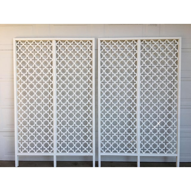Mid-Century Modern Geometric White Wood Room Dividers - a Pair For Sale - Image 9 of 10