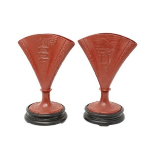 1900 Fan-Shaped Cast Metal Pagoda Vases - a Pair