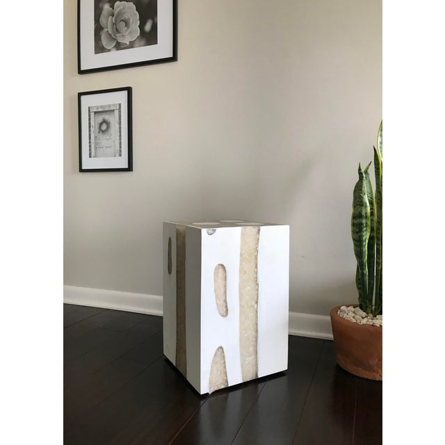 Modern Mieke by Made Goods White Teak Wood and Crystal Resin Side Table Stool For Sale - Image 12 of 12