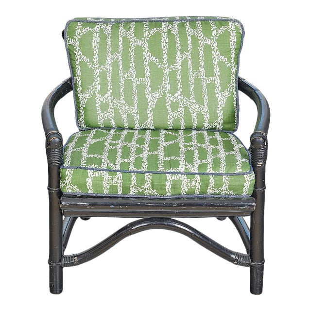 Vintage Bamboo Chair With Ferrick Mason's Espalier Reverse - Hedge Fabric For Sale